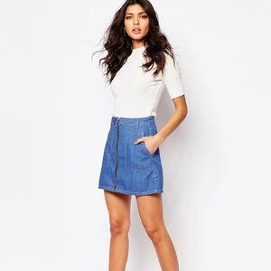 ASOS River Island Bright Blue Denim Mini Skirt